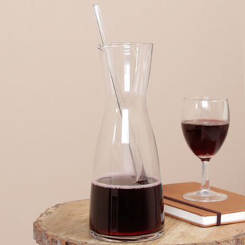 Tall Glass Wine Carafe With Stirrer