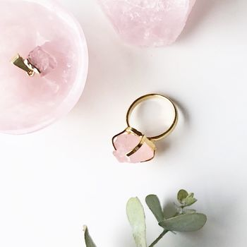 Mini Rose Quartz Raw Cut Gemstone Ring