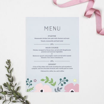 Pink Poppy Wedding Menu Cards