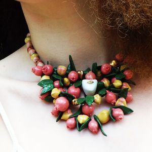 Fruit Porcelain Summer Peaches And Pomegranate Necklace - necklaces & pendants