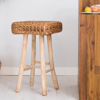 Wood Bar Stool With Wicker Seat