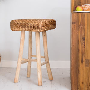 Wood Bar Stool With Wicker Seat Round Or Square Seat