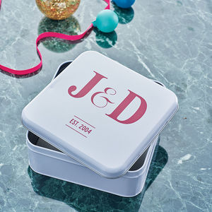 Initialled Keepsakes Tin Box - gifts for couples