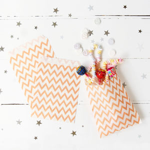 Peach Chevron Print Party Treat Bags - sweet bar accessories