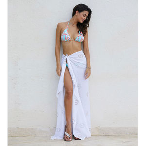 White Kiki Sun Cotton Sarong - kaftans & cover-ups