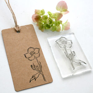 Buttercup Flower And Buttercup Leaf Clear Rubber Stamp - wedding favours
