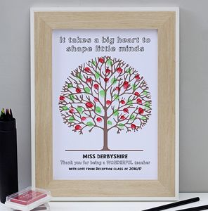 Personalised Thank You Teacher Fingerprint Tree