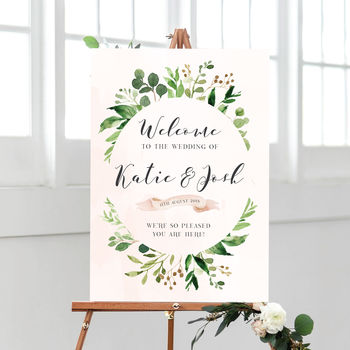 Personalised Welcome To Our Wedding Botanical Sign