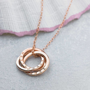 Personalised 9ct Gold Russian Ring Necklace - rose gold jewellery