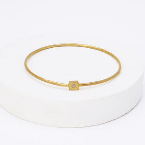 Gold Square Nugget Gem Set Bangle - bracelets & bangles