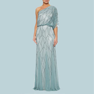 Duck Egg Net Beaded Evening Gown