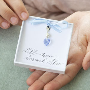 Something Blue Swarovski Crystal Heart Charm - charm jewellery