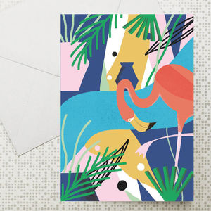 Set Of Six Tropical Greeting Cards