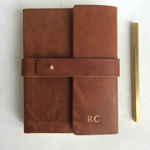 Leather Notebook Wraparound Leather Anniversary Gift