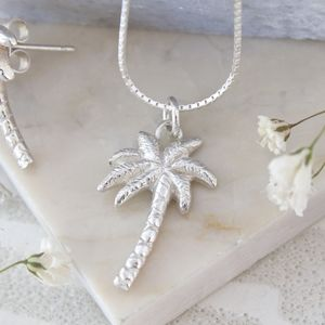 Palm Tree Necklace, Silver Tropical Necklace - necklaces & pendants