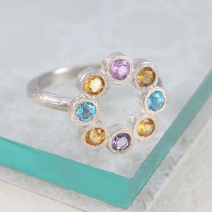 Citrine Birthstone Assorted Gemstone Silver Ring - rings