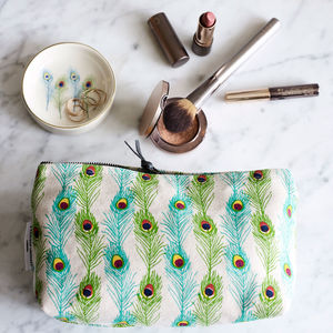 Peacock Feather Small Make Up Bag