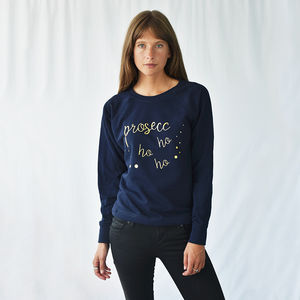 'Prosecco Ho Ho Ho' Women's Christmas Sweatshirt Jumper - summer sale