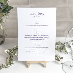 Traditional Style Wedding Menu Cards / Navy Blue