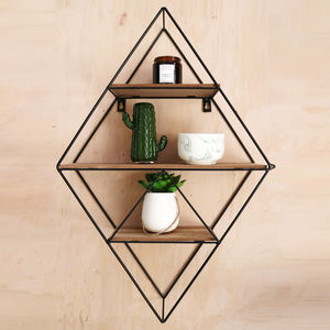 Geometric Black Wire Display Shelf - storage