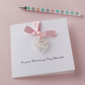 Personalised Christening Day Wire Heart Card - new baby & christening cards