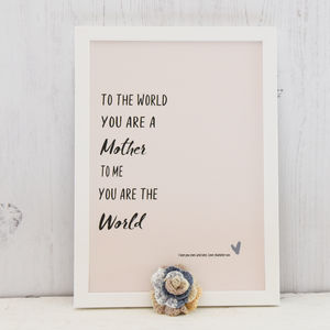 You're My World, Personalised Mum Print - new in prints & art