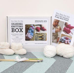 Grandma Baby Booties Knitting Kit - creative kits & experiences