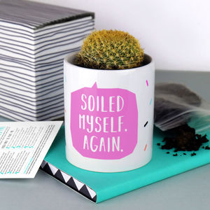 Soiled Myself Again Cactus Plant Pot With Cactus - for friends