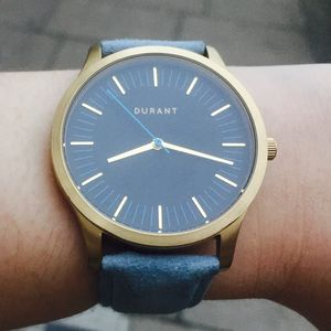 Gold And Blue Dialmaster Watch With Suede Strap