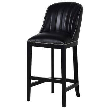 Black Ribbed Leather Studded Bar Kitchen Dining Stool