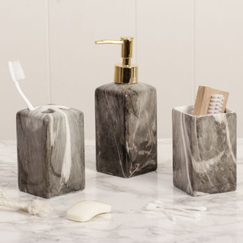 Grey Marble Bathroom Accessories Collection