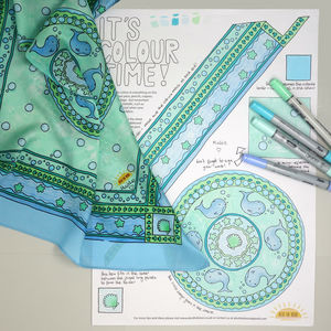 Whale Print Silk Scarf Colouring Kit - creative kits & experiences