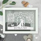 Personalised Silhouette Wedding Papercut - prints & art