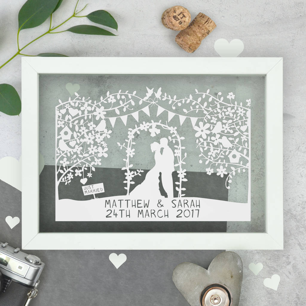 Personalised silhouette wedding papercut by the portland co personalised wedding gift negle