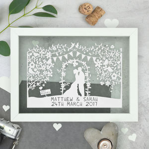 Personalised Silhouette Wedding Papercut - mr & mrs