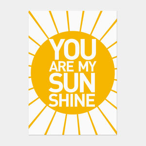 'You Are My Sunshine' Postcard