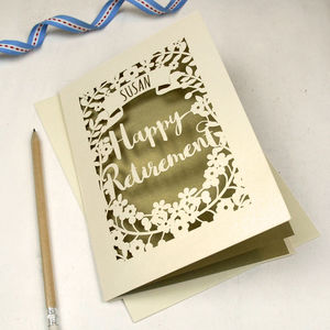 Personalised Papercut Retirement Card - retirement cards