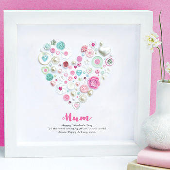 Personalised Mother's Day Pink Framed Heart