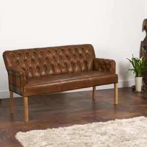 Vintage Leather Curved Arm Sofa Bench Choice Of Sizes - sofas