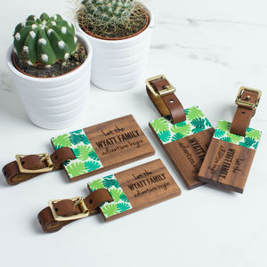 Personalised Wood Luggage Tags Family Set