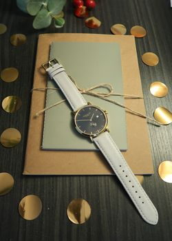 'Richmond' Cloudy Grey, Black And Gold Watch
