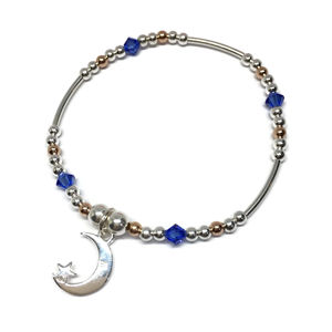 Moon And Stars Bracelet With Blue Swarovski Crystals