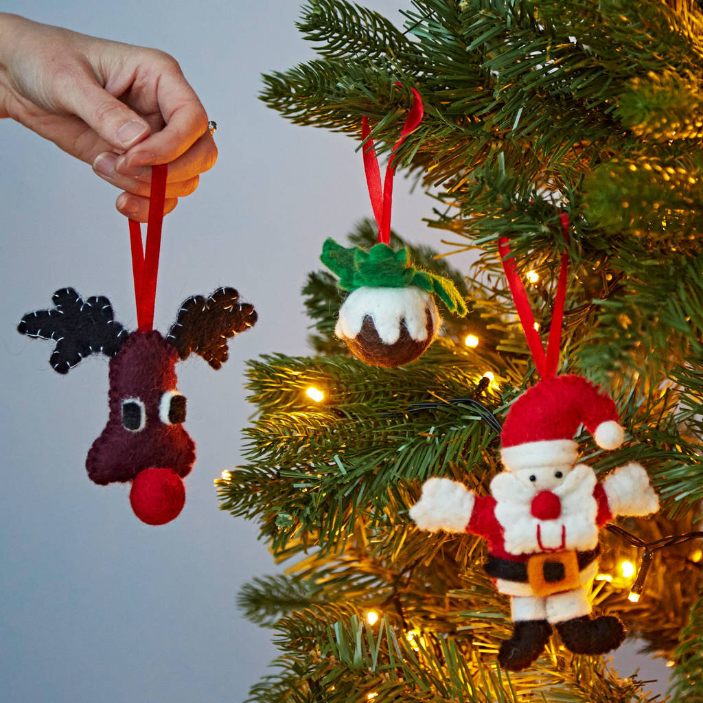 set of three felt christmas tree decorations by paper high ...