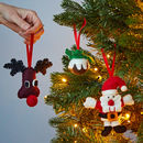 Set Of Three Felt Christmas Tree Decorations