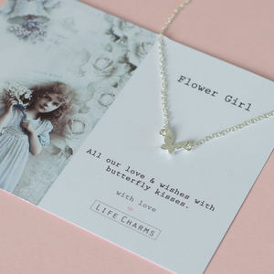 Flower Girl Butterfly Necklace - children's accessories