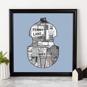 Personalised Initials Beatles Bass Print - music