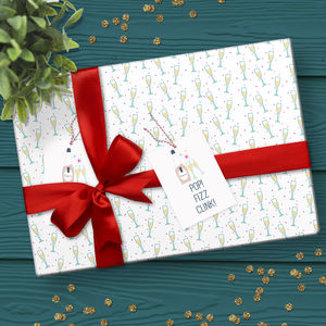 Prosecco Gift Wrap Set - ribbon & wrap