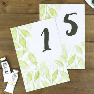 Botanical Leaves Wedding Table Number Cards - summer sale