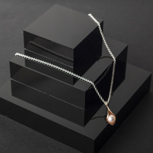 Calla Lily Pearl Rose Gold Pendant - necklaces & pendants