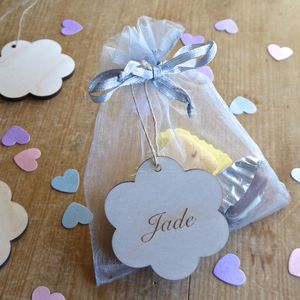 Wooden Flower Name Tag - wedding favours